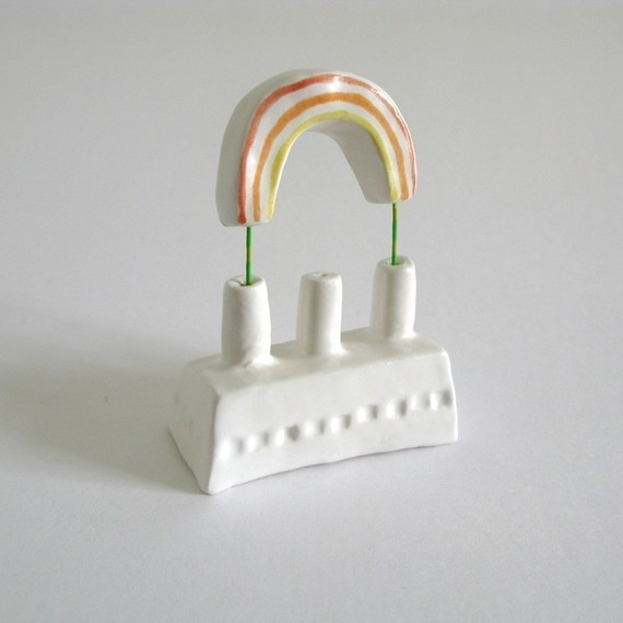 A beautiful handmade creation by PearsonMaron, an artist team local to me. If only our factories made rainbows... http://www.etsy.com/shop/PearsonMaron