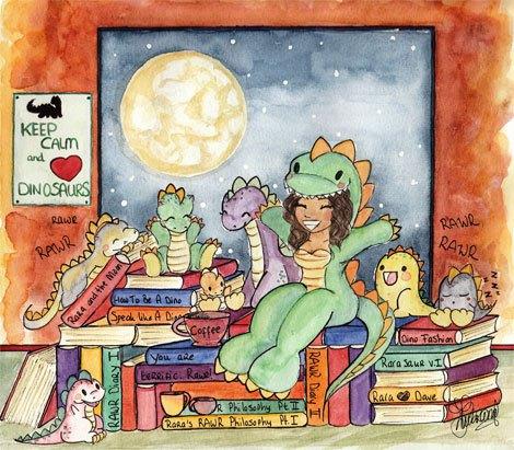 tj lubrano, rarasaur, le clown, clownonfire, artwork, moon, dinosaurs, rawr