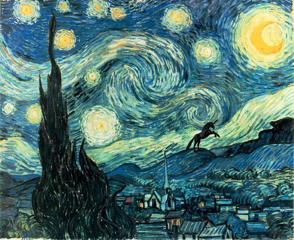 Vincent van Gogh - The (Unicorn and the) Starry Night