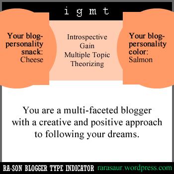 ra-son blog type indicators, bti profile, blogger personality, personality quiz, personality test, ra-son bti, ra-son blogger test,