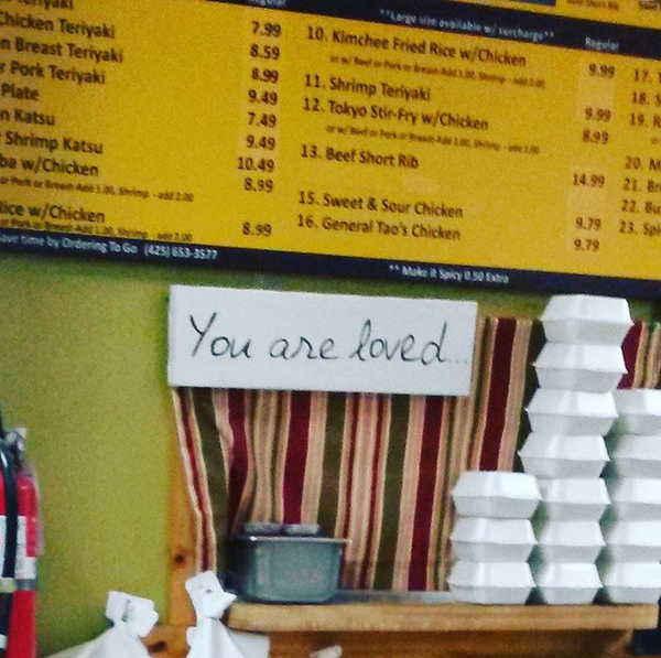 Spotted from E (ASignOfLife.Wordpress.com) - in a Teriyaki restaurant up in the Pacific Northwest!