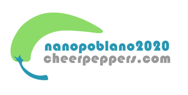 "Upside-down Pepper over the words ""NanoPoblano2020 - CheerPeppers.com"""