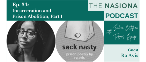 "Picture collage-- featuring Ra Avis' face, the cover of the book Sack Nasty, and The Nasiona podcast title information ""Ep 34 - Incarceration and Prison Abolition, Part 1"""